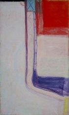 1980, Abstract met rood vierkant, 150 x 90 cm